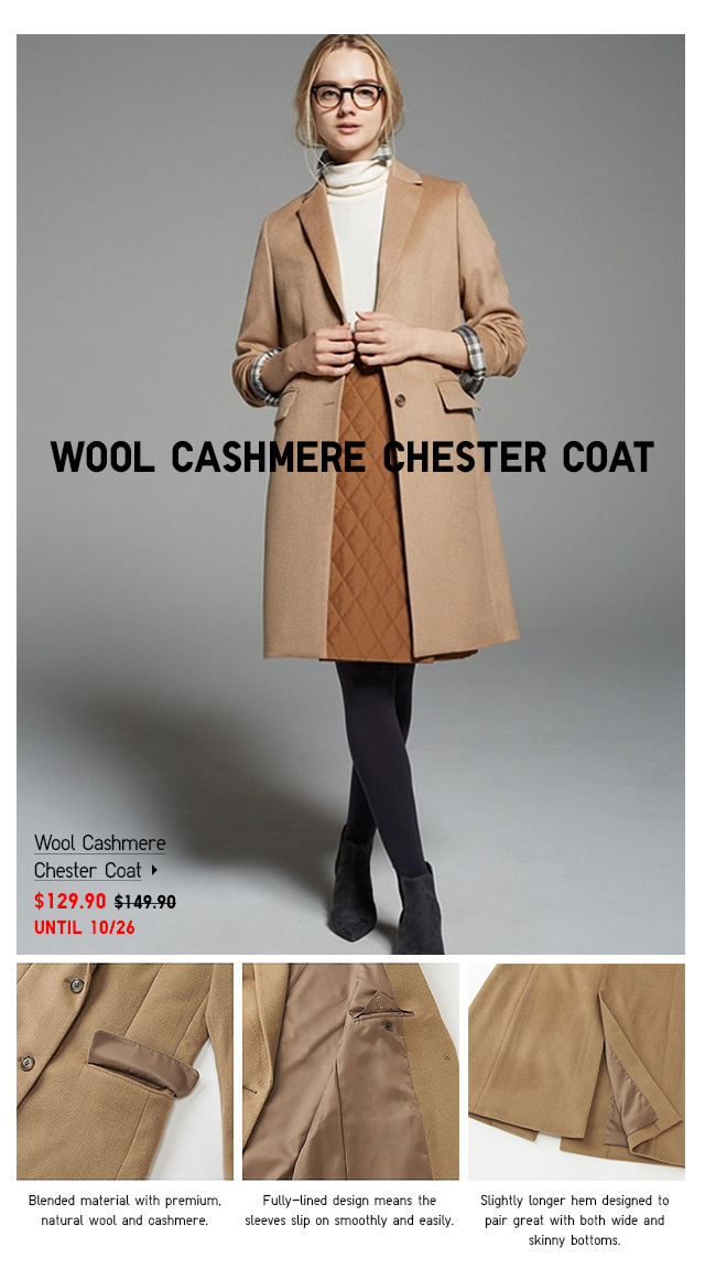 Women Wool Cashmere Chest Coat $129.90