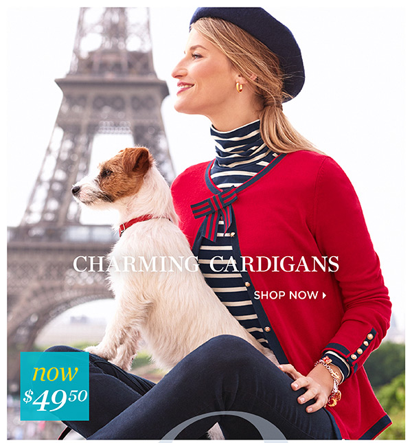 Charming Cardigans. Now $49.50
