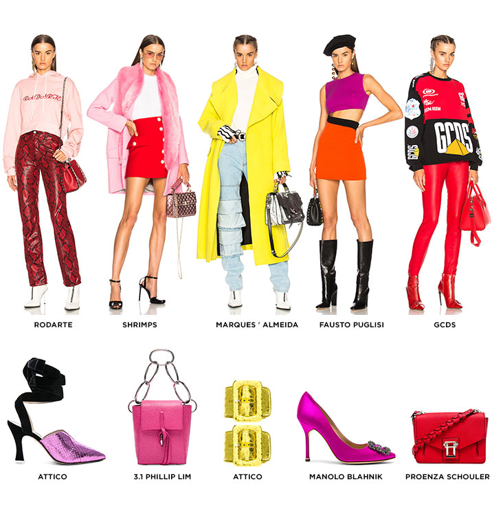 DO IT RIGHT, MAKE IT BRIGHT. A BRIGHT, BOLD, AND COLORFUL PALETTE IS THE MOST VIBRANT WAY TO TURN UP YOUR FALL WARDROBE. GET THE LOOK