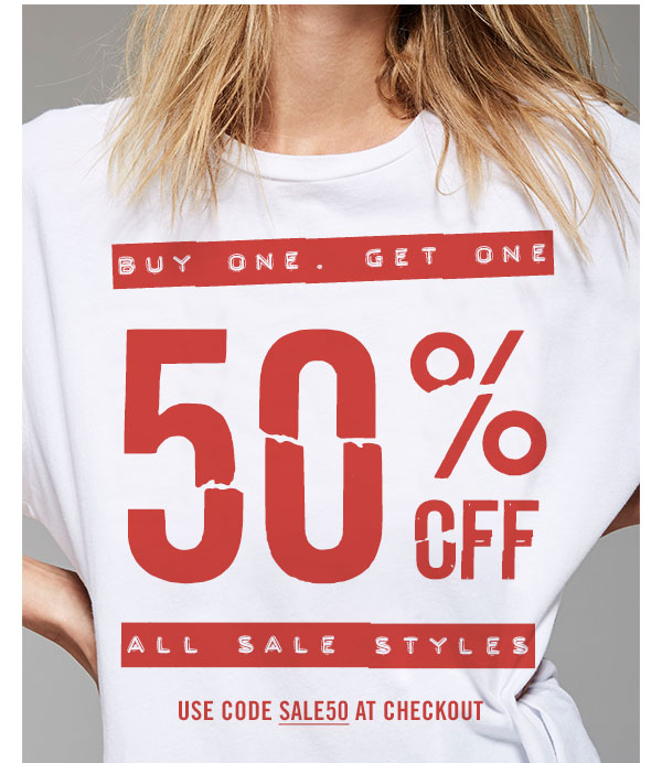 Buy One Get One 50% OFF ALL Sale Styles! Use Code SALE50 at checkout.