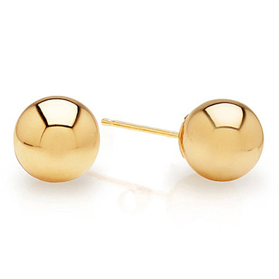 Solid 14K Gold Ball Stud Earrings - Assorted Sizes (4, 5, 6, 7, 8mm)