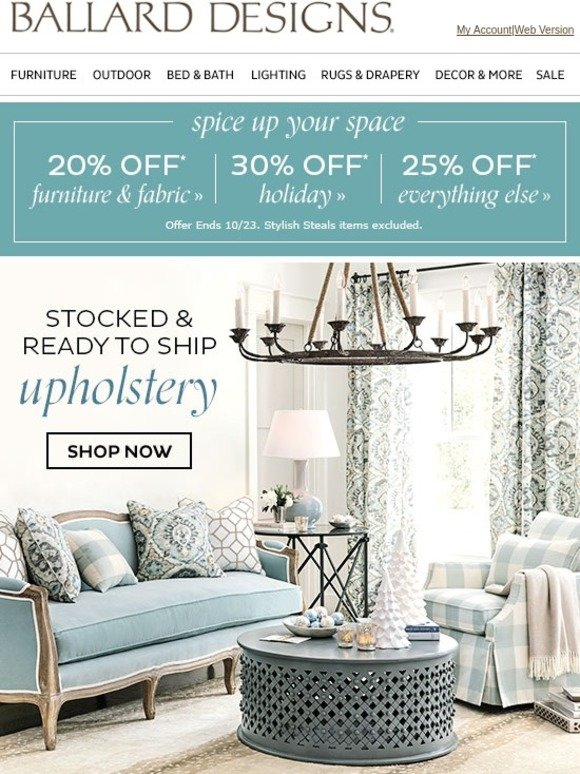 Ballard Designs Upholstery Shipped Quick Milled