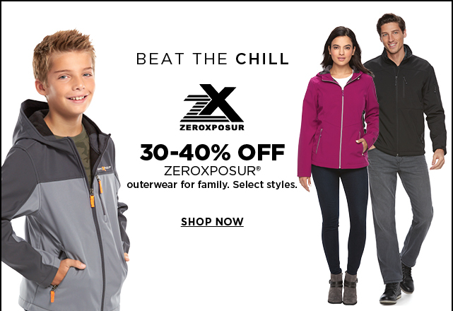 30 to 40% off zeroexposur outerwear for the family. select styles. shop now.