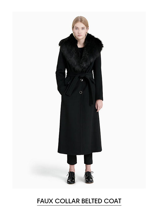 Faux Collar Belted Coat