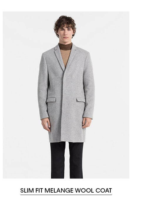 Slim Fit Melange Wool Coat