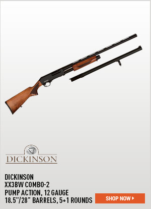 Dickinson XX3BW Combo-2, Pump Action, 12 Gauge, 18.5 Inch / 28 Inch Barrels, 5+1 Rounds