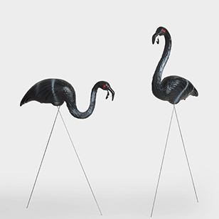 Set Of 2 Black Zombie Flamingos ›