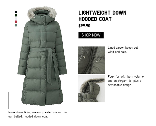 Women Lightweight Down Hooded Coat $99.90