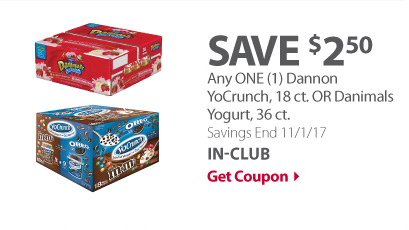 Any ONE (1) Dannon YoCrunch, 18 ct. OR Danimals Yogurt, 36 ct.