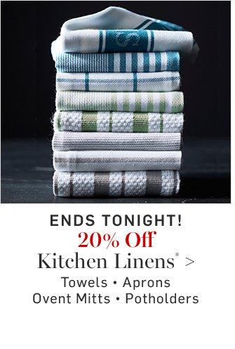 20% Off Kitchen Linens*