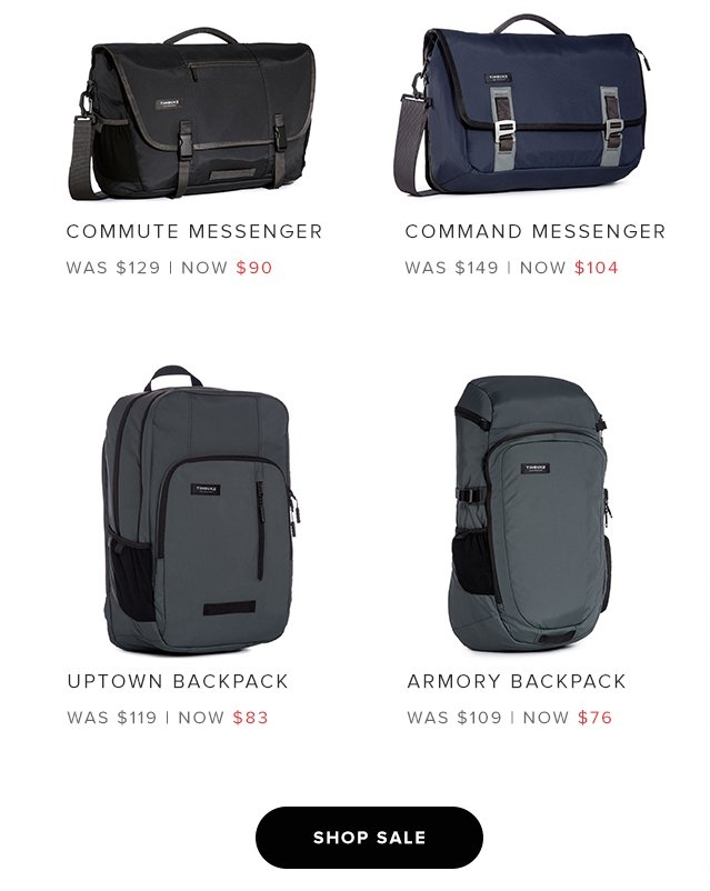 Commute Messenger – Was $129 Now $90 | Command Messenger – Was $149 Now $104 | Uptown Backpack – Was $119 Now $83 | Aromory Backpack – Was $109 Now $76