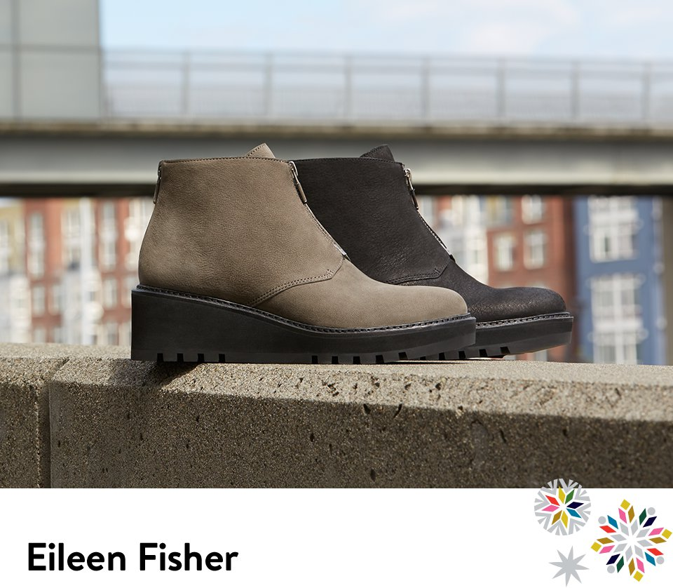 Eileen Fisher wedge booties with lug soles.