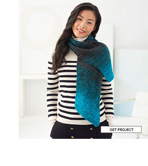 Diagonal Crochet Scarf. Just one ball of Scarfie and simple stitches makes this biased crocheted scarf. You won't want to take it off when you get inside. GET PROJECT.