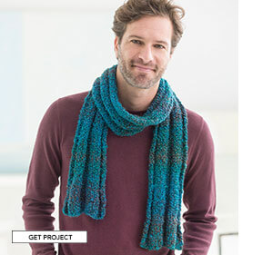 Simple Knit Scarf. He needs a scarf too! Homespun does all the work in this easy knit. GET PROJECT.