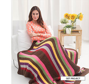 Amish Stripe Afghan. Stripe it rich with simple knit squares for a quick and easy afghan. Knit in Wool-Ease Thick and Quick and youll be done before the leaves fall. GET PROJECT.