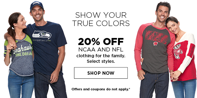 20% off NCAA and NFL clothing for the family. Select styles. Shop now. Offers and coupons do not apply.