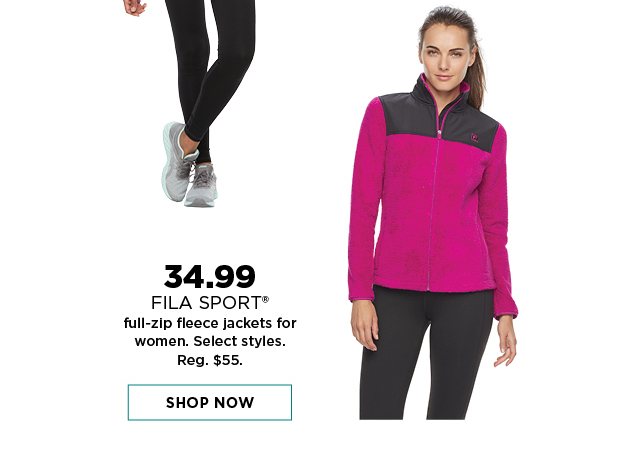 34.99 Fila sport full zip fleece jackets for women. select styles. shop now.