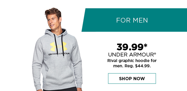 39.99 under armour rival graphic hoodie for men. reg. 44.99. shop now. offers and coupons do not apply.