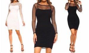 Women's Long-Sleeve Fishnet Dress with Underslip