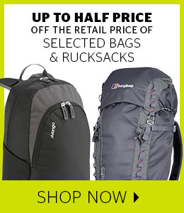 Up to half price bags and rucksacks
