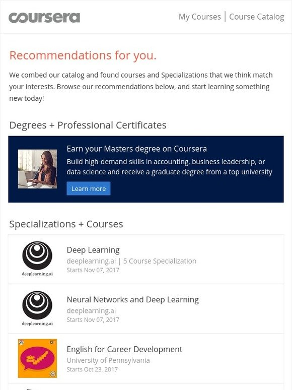 Coursera: Recommended courses for you | Milled