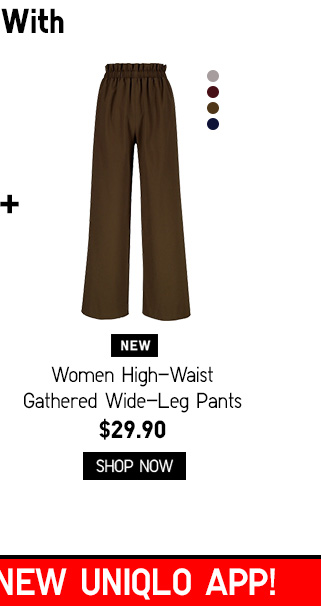 Women High-Waist Gathered Wide-Leg Pants - Shop Now