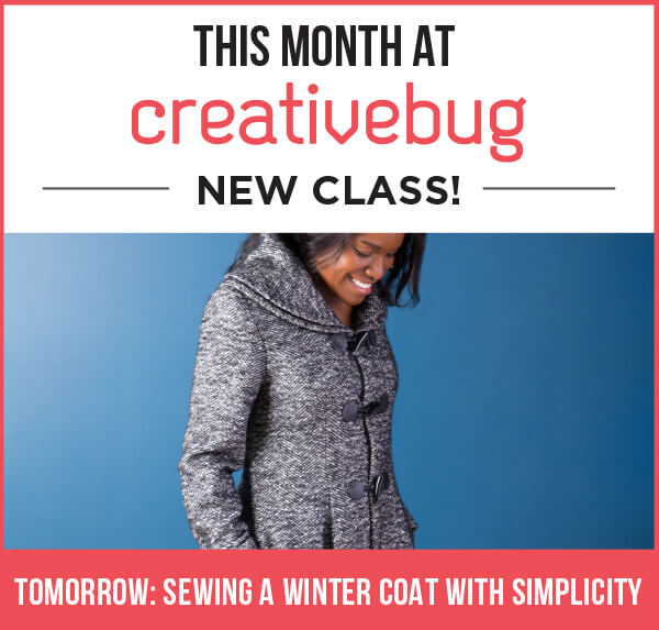 This month at Creativebug: New Class! Sewing a Winter Coat with Simplicity.