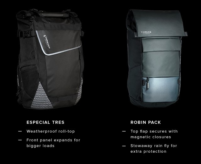 Especial Tres – Weatherproof roll-top | Front panel expands for bigger loads | Robin pack – Top flap secures with magnetic closures | Stowaway rain fly for extra protection