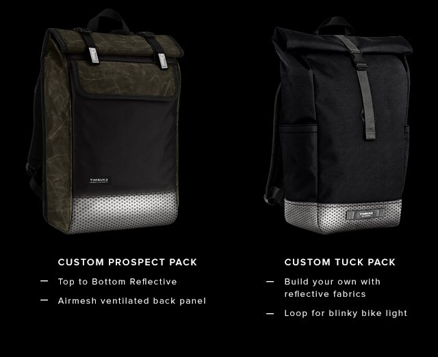 Custom Prospect Pack — Top to Bottom Reflective | Airmesh ventilated back panel | Custom Tuck Pack — Build your own with reflective fabrics | Loop for blinky bike light