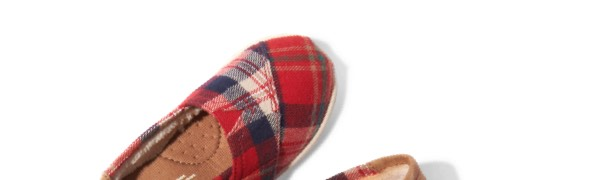 Red Holiday Plaid Tiny TOMS Classics