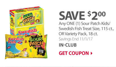Any ONE (1) Sour Patch Kids/ Swedish Fish Treat Size, 115 ct., OR Variety Pack, 18 ct.