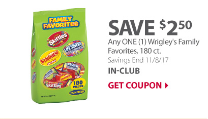 Any ONE (1) Wrigley's Family Favorites, 180 ct.