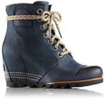 Profile of a navy blue wedge lace-up boot.