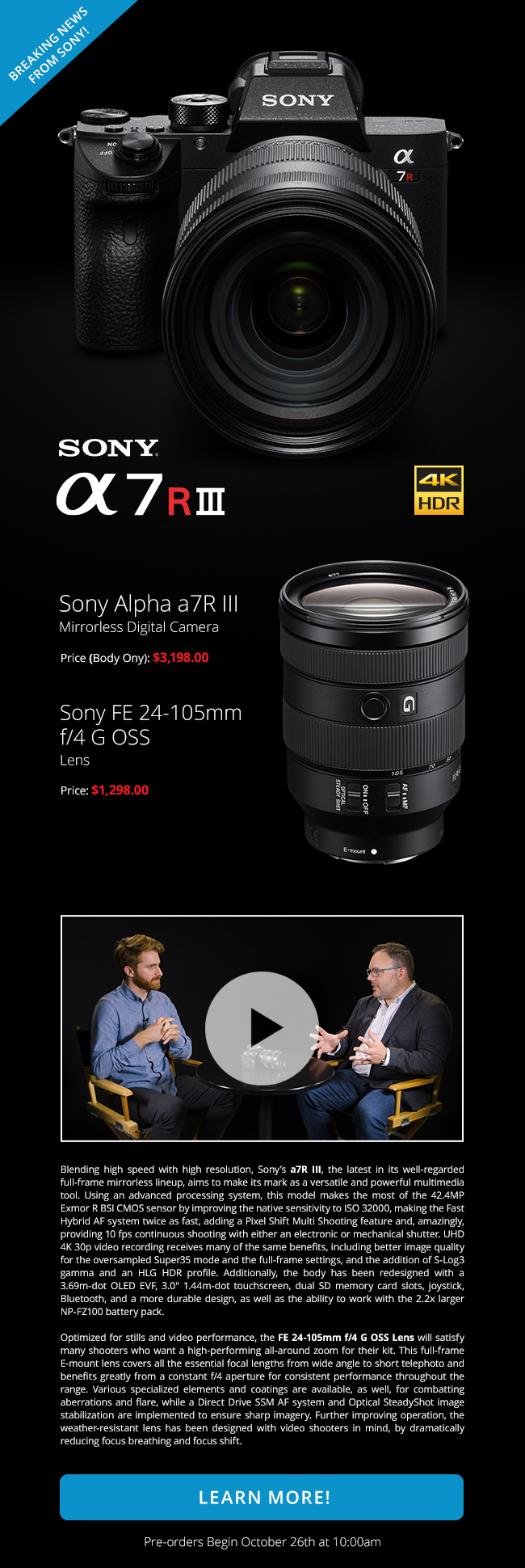 Breaking News from Sony! Sony Alpha a7 R III | Watch Announcement Now!