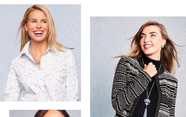 Embellished sweaters, metallic details, surprise sequins and more. Shop Chic