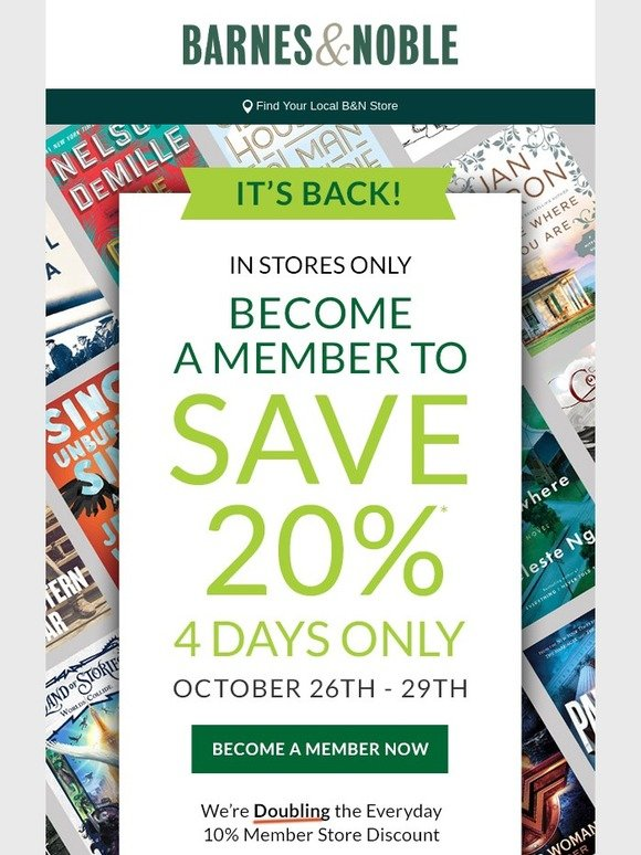 Barnes Noble Save 20 In Store Become A Member Today Milled