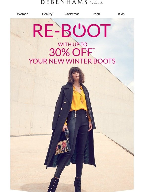 Debenhams Ireland: Up to 30% off boots