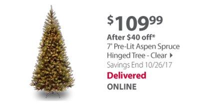 7 Pre-Lit Aspen Spruce Hinged Tree