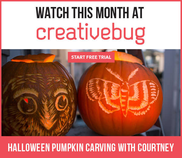 It's National Pumpkin Day.Buy a Funkin and take this CreativeBug Class: Halloween Pumpkin Carving with Courtney.