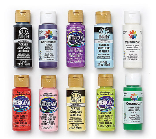Americana, Ceramcoat and FolkArt Select 2-oz Acrylic Paints.