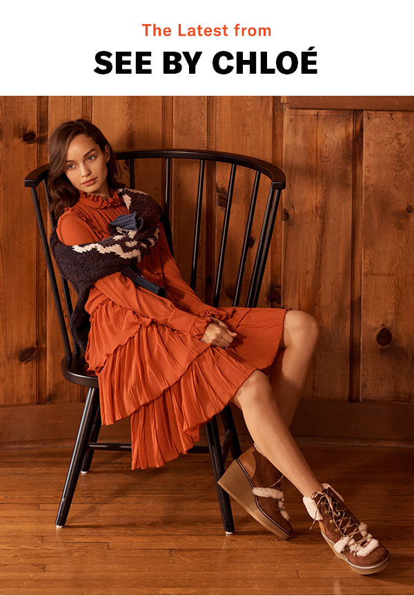 The Latest from See by Chloé - A cozy-luxe collection of '70s-style dresses, vintage-inspired knits, and sweet, artisanal touches.