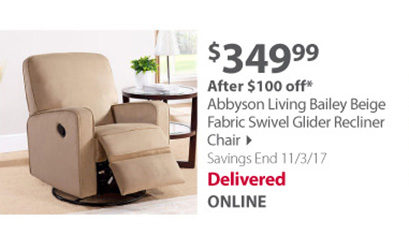 Abbyson Living Bailey Swivel Glider Recliner Chair - Beige