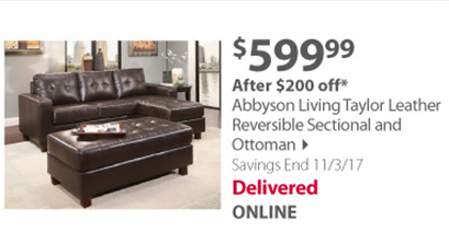 Abbyson Living Taylor Leather Reversible Sectional and Ottoman