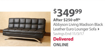 Abbyson Living Madison Bonded Leather Euro Lounger Sofa - Black