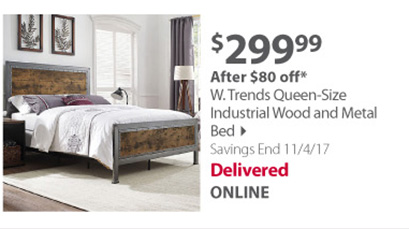 W. Trends Queen-Size Industrial Wood and Metal Bed