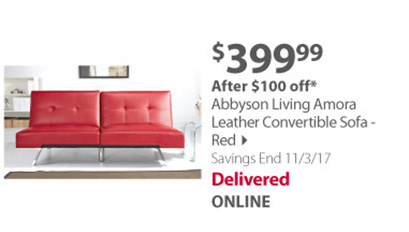 Abbyson Living Amora Leather Convertible Sofa - Red