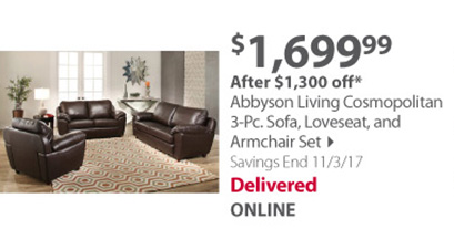 Abbyson Living Cosmopolitan 3-Pc