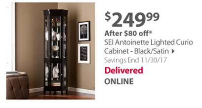 SEI Antoinette Lighted Curio Cabinet - Black/Satin