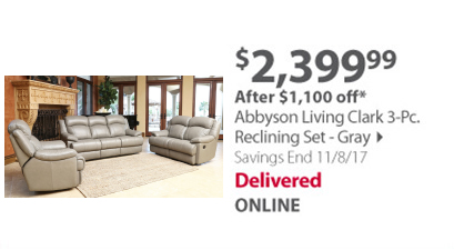 Abbyson Living Clark reclining set gray