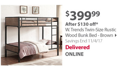 W. Trends Twin-Size Rustic Wood Bunk Bed - Brown